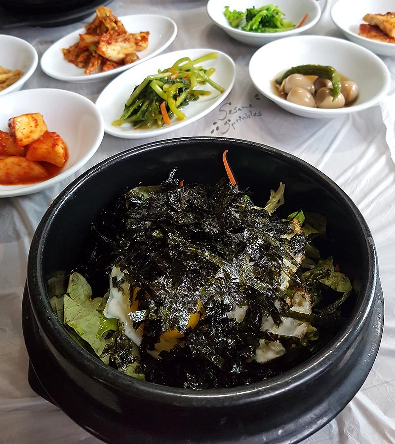 Dolsot-Bibimbap topped with Gim. Local restaurant on Bogil Island (보길도), 2018.