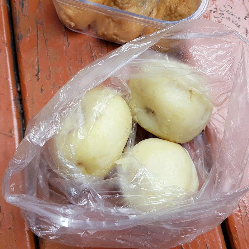Potatoes, boiled and peeled.